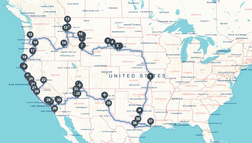 american road trip map